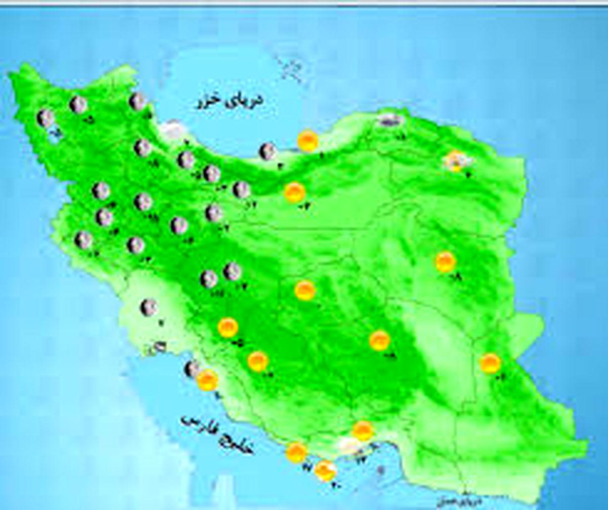 پیش بینی بارش آب و هوا در روز های پایانی هفته